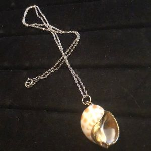 Jewelry - Sterling Necklace With Gold Tone/Pink Shell